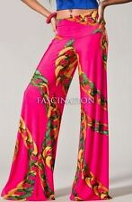 SEXY HOT PINK CHAINS FOLDOVER TALL WIDE LEG FLOWY YOGA PALAZZO PANTS S M L