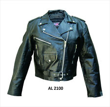 Black Ladies Lambskin Leather Motorcycle Jacket Half Belt Biker Womens Style