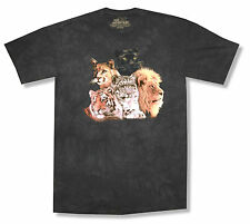 "THE MOUNTAIN ""BIG CATS"" BLACK TIE DYE T-SHIRT NEW OFFICIAL YOUTH KIDS TIGER LION"