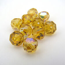 10 vintage Swarovski faceted topaz AB crystal beads round 8mm article 5300