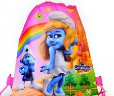 DRAWSTRING BACKPACKS SCHOOL BAG SMURF SMURFETTE KIDS CARTOON