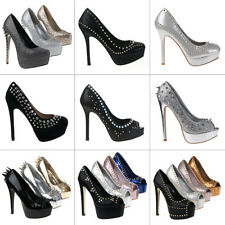 LUXUS NEU DESIGNER DAMEN SCHUHE PUMPS PLATEAU HIGH HEELS STILETTO NIETEN k8w2 0€