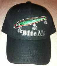 Fishing Baseball Cap Black with Hooked Lure with words Bite Me C5167