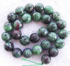 Natural beautiful Faceted Round Ruby Zoisite gemstone Beads 15 ""