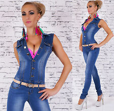 Sexy Women's Denim Jumpsuit in Crinkle Style Overall  Inc Belt Size 6-14