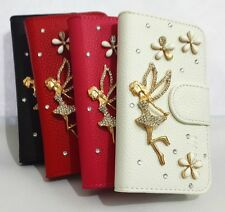 3D Diamond Crystal Angel Card Wallet Pouch Leather Case Cover FOR Samsung Phones