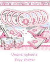 BABY SHOWER  /  BABY GIRL PARTY TABLEWARE --  PINK UMBRELLAPHANTS & ACCESSORIES