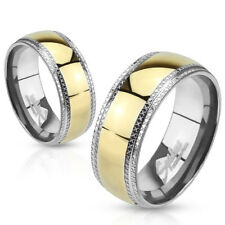 Stainless Steel Gold & Silver 2-Tone Milgrained Wedding Band Ring Size 5-14