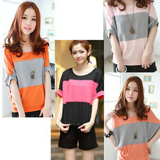 Lady Loose Blouse Tops Batwing Short Sleeve Tee Casual T-shirt Boat Neck Fashion