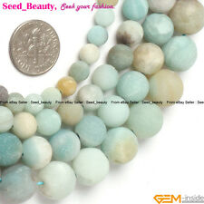 Jewelry Making round frost mixed amazonite gemstone Loose beads strand 15""
