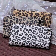 Fashion Leopard Pattern Soft PU Leather Wallet Stand Case Cover for iPhone 5C