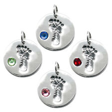 925 Sterling Silver Baby Feet Footprint Birthstone Charm - Choose Month