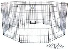 GoPetClub Exercise Pen Dog Crate Cage with 8 FREE Ground Anchors