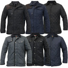 Mens Soul Star Padded Diamond Quilted Coat Cord Patches Winter Hunter Jacket New