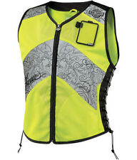 Icon Womens Mesh Yellow Mil Spec Military Corset Motorcycle Riding Vest Harley