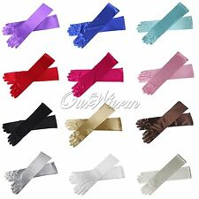 """15""""Ladies Long Satin Stretch Gloves Bridal Prom Wedding Formal Party Color Opera"""