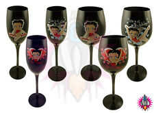 NEW BETTY BOOP BLACK WINE OR CHAMPAGNE GLASSES FLUTE FLUTES 200ml OR 350ml