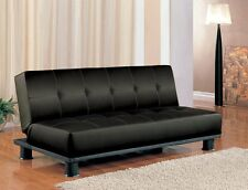 Futon Sleeper Sofa Bed Vinyl Leather Finish