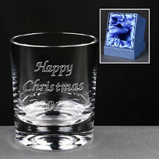 Personalised 8oz Whisky Glass Engraved Christmas Gift Present In Silk Gift Box