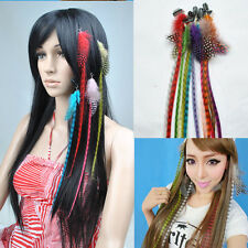wholesale Lot Synthetic Grizzly 12 Colors Feather Clip In Hair Extensions KP52