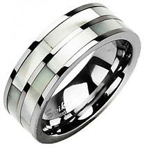 Tungsten Dual Mother of Pearl Stripe Men's Wedding Band Ring Size 5-13