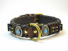 YESRD Leather dog Collar  Padded with Brass Fitting LDC-110