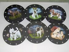 SELECTION OF SLATE CLOCKS WITH DOG ILLUSTRATIONS