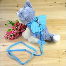 New Pet Cat Dog Safety Harness Leash Adjustable Angel Wings 3 size Blue/Pink