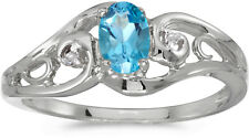 10k White Gold Oval Blue Topaz And Diamond Ring (CM-RM2590W-12)