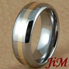 14K Gold Inlay Tungsten Ring Womens & Mens Wedding Band Jewelry Size 7.5-13.5