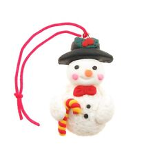 Fimo Christmas Charm / Tree Decorations, Snowman Holding Candy Cane, 2 Pack