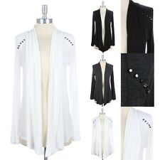 Studded Shoulder Accented Open Front Draped Cardigan Long Sleeve Rayon S M L