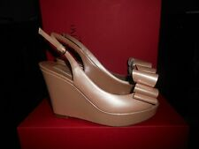 Valentino Open Toe Patent Leather Platform Wedge Slingback Shoes Bow Nude $795