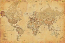 Poster World Map - Vintage Style