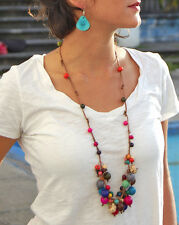 Long Cloud Forest Acai Pambil Seed Necklace Andean Collection  aqua sea green