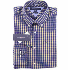 Tommy Hilfiger Men Long Sleeve Button Down Plaid Casual Shirt - Free $0 Shipping