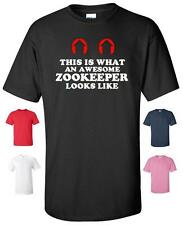 THIS IS WHAT AN AWESOME ZOOKEEPER LOOKS LIKE T-SHIRT MENS WOMENS CHILDRENS SIZES