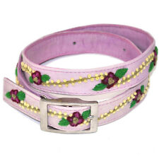 Hand Embroided Leather Skinny Belt Yellow Lavender Pink S M L Jenny Krauss