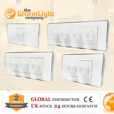 White Plastic Rotary 500W-2000W LED Dimmer Light Switches 1 2 3 4 Gang One Way