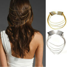 1pc Lady Punk Rock Boho 2 Combs Chains Tassels Fringes Hair Cuff Pin Head Band