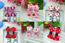 one Pair (2 pcs ) sweet lovely Bow Barrettes kids Hair Clips,Baby/Girl/Toddler