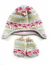 JOHN ROCHA DEBENHAMS Girl MULTI Fairisle Knit Nepal Trapper Hat Mittens Set 0-6m