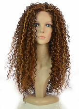 Long Thick Spiral Afro Curl Wig   Lace Front Queen B Wig   Blonde & Brunette
