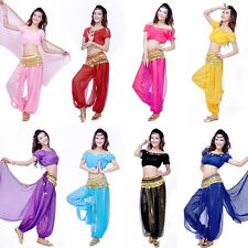 New Elegant Belly Dance Costumes Suit Chiffon Short Sleeve Tops +Bloomers Pants