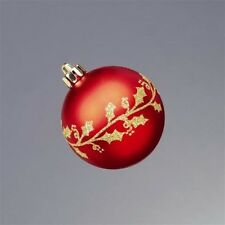 Set of 9 Shatterproof Christmas Bauble Tree Decorations on Red or Gold