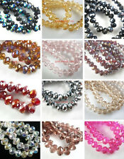 Assorted Colors Glass Crystal Loose Beads Spacer Findings Color Faceted 4x6mm