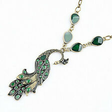 Retro Bronze Style Enamel Peacock Necklace Chain Charm Pendant