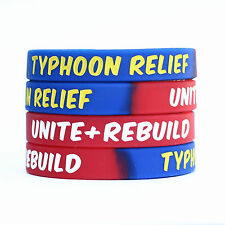 50 Silicone Typhoon Relief Wristbands Unite and Rebuild Awareness Bracelet Bands