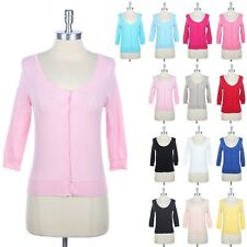 PASTEL Toned 3/4 Sleeve Round Neck Button Down Knit Cardigan Cute Casual S M L