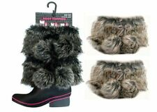 LADIES/GIRLS KNITTED BOOT TOPPERS FOR WELLIES, BOOTS CHOOSE COLOUR FUR POMPOMS